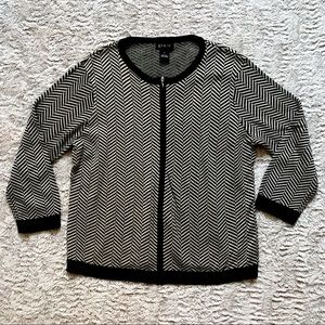 Grace Multi Silk Blend Zip Up Geometric Cardigan